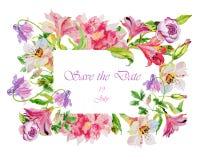 L'aquarelle fleurit l'alstroemeria Cartes de voeux fabriquées à la main Photos libres de droits