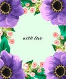 L'aquarelle fleurit la carte postale de Greenvector image stock