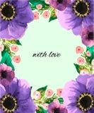 L'aquarelle fleurit la carte postale de Greenvector Photographie stock