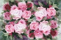 L'aquarelle fleurit le fond Photo stock