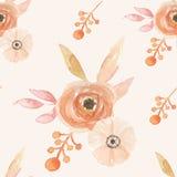 L'aquarelle fleurit le modèle sans couture peint par baies Autumn Fall de feuilles Image stock