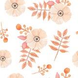L'aquarelle fleurit le modèle sans couture peint par baies Autumn Fall de feuilles Photo libre de droits