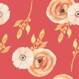 L'aquarelle fleurit le modèle sans couture peint par baies Autumn Fall de feuilles Photographie stock
