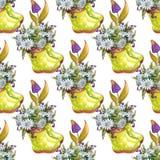 L'aquarelle fleurit le mod?le sans couture printemps illustration stock