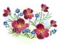 L'aquarelle fleurit les violettes et la pensée et part sur le pré photo libre de droits