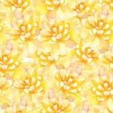 L'aquarelle jaune fleurit le modèle sans couture Images libres de droits