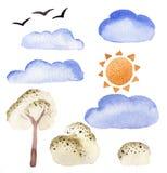 L'aquarelle objecte le clipart (images graphiques) de rue d'éléments Buisson d'arbre de nuage de Sun Images stock