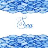 L'aquarelle ondule, thème de mer, cadre maritime bleu illustration libre de droits
