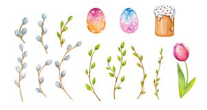 L'aquarelle Pâques place illustration stock