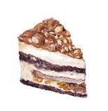 L'aquarelle a peint le gâteau posé avec des écrous en caramel Image libre de droits