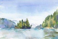 L'aquarelle a peint le paysage avec un lac et une île Photos libres de droits