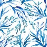 L'aquarelle peinte à la main part du fond floral sans couture de vecteur de modèle Configuration de lame modèle de vecteur de res illustration de vecteur