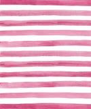 L'aquarelle rose et le blanc barre le fond Image stock