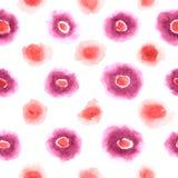 L'aquarelle rose et rouge repère le modèle Photo stock