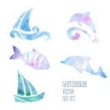 L'aquarelle a stylisé la mer réglée sur un fond blanc Image libre de droits
