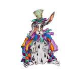 L'aquarelle tirée par la main a isolé le lapin dans le chapeau et le cap illustration libre de droits