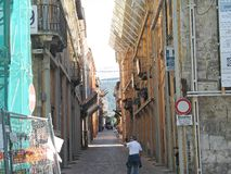 L'Aquila earthquake. The downtown of L'Aquila is Red zone: entry is forbidden to everyone. The 2009 L'Aquila earthquake occurred in the region of Abruzzo, in Royalty Free Stock Photo