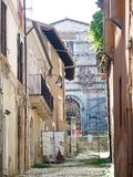 L'Aquila earthquake. The downtown of L'Aquila is Red zone: entry is forbidden to everyone. The 2009 L'Aquila earthquake occurred in the region of Abruzzo, in Royalty Free Stock Images