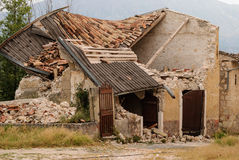 L'Aquila earthquake, collapsed house Royalty Free Stock Photography