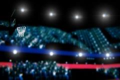 L'arène de basket-ball avec la vue 3d de panorama de spectateurs rendent image libre de droits