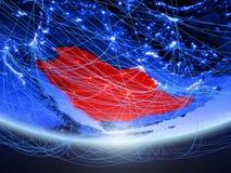 L'Arabia Saudita da spazio con la rete immagine stock libera da diritti