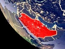 L'Arabia Saudita da spazio su terra illustrazione vettoriale