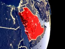 L'Arabia Saudita sulla terra di notte immagine stock libera da diritti