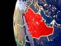L'Arabie Saoudite sur le globe de l'espace illustration de vecteur
