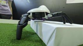 L'araignée de robot s'élève sur un obstacle La robotique, technologie robotique, animaux de robots se déplacent banque de vidéos