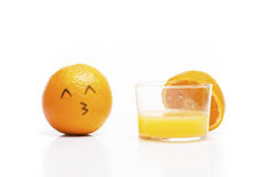 L'arancia ama il succo! Fotografia Stock Libera da Diritti