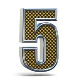 L'arancia del metallo di Chrome ha punteggiato la fonte il numero CINQUE 5 3D Immagini Stock Libere da Diritti