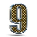L'arancia del metallo di Chrome ha punteggiato la fonte il numero NOVE 9 3D Fotografie Stock