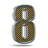 L'arancia del metallo di Chrome ha punteggiato la fonte il numero OTTO 8 3D Immagini Stock Libere da Diritti