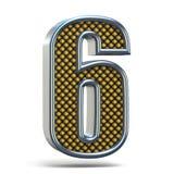 L'arancia del metallo di Chrome ha punteggiato la fonte il numero SEI 6 3D Fotografie Stock