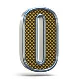 L'arancia del metallo di Chrome ha punteggiato la fonte il numero ZERO 0 3D Immagini Stock