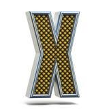 L'arancia del metallo di Chrome ha punteggiato la lettera X 3D della fonte Fotografia Stock