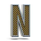 L'arancia del metallo di Chrome ha punteggiato la lettera la N 3D della fonte Fotografia Stock