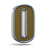 L'arancia del metallo di Chrome ha punteggiato la lettera la O 3D della fonte Fotografie Stock