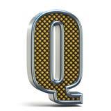 L'arancia del metallo di Chrome ha punteggiato la lettera la Q 3D della fonte Fotografia Stock