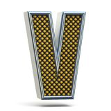 L'arancia del metallo di Chrome ha punteggiato la lettera V 3D della fonte Immagine Stock Libera da Diritti