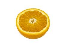 L'arancia di Valencia ha tagliato a metà sopra fondo bianco fotografia stock