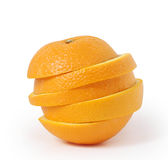 L'arancio affetta la spremuta Fotografia Stock