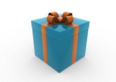 L'arancio blu del contenitore di regalo di natale ha isolato Fotografia Stock