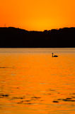L'arancio di tramonto ha verniciato il cielo Fotografia Stock
