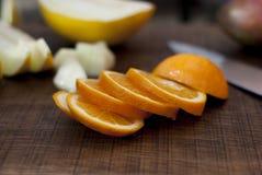 L'arancio ed il melone hanno affettato Fotografia Stock Libera da Diritti