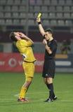 L'arbitro mostra il cartellino giallo Fotografie Stock Libere da Diritti