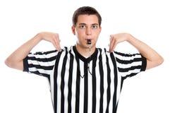 L'arbitro teenager che dà il tempo fuori firma Fotografie Stock Libere da Diritti