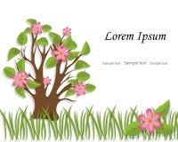 L'arbre avec le feuillage et les fleurs roses est coupé du papier Sprin Photo stock