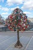 L'arbre avec le mariage verrouillé ferme à clef sur le pont de l'amour Images stock