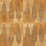 L'arbre décoratif quitte - fond sans couture - la structure en bois Images stock